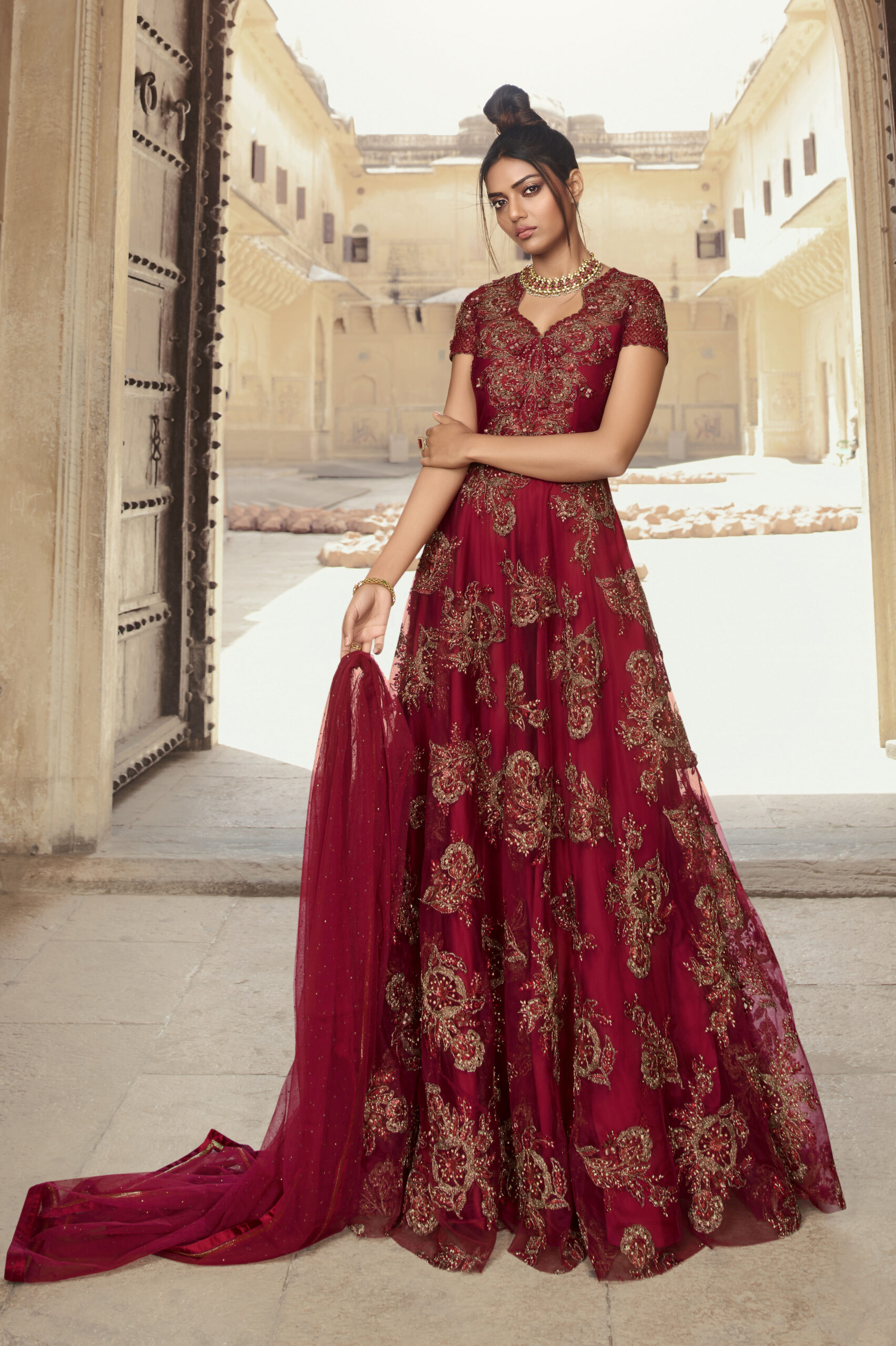 Latest Designer Maroon Bridal Gown for Reception