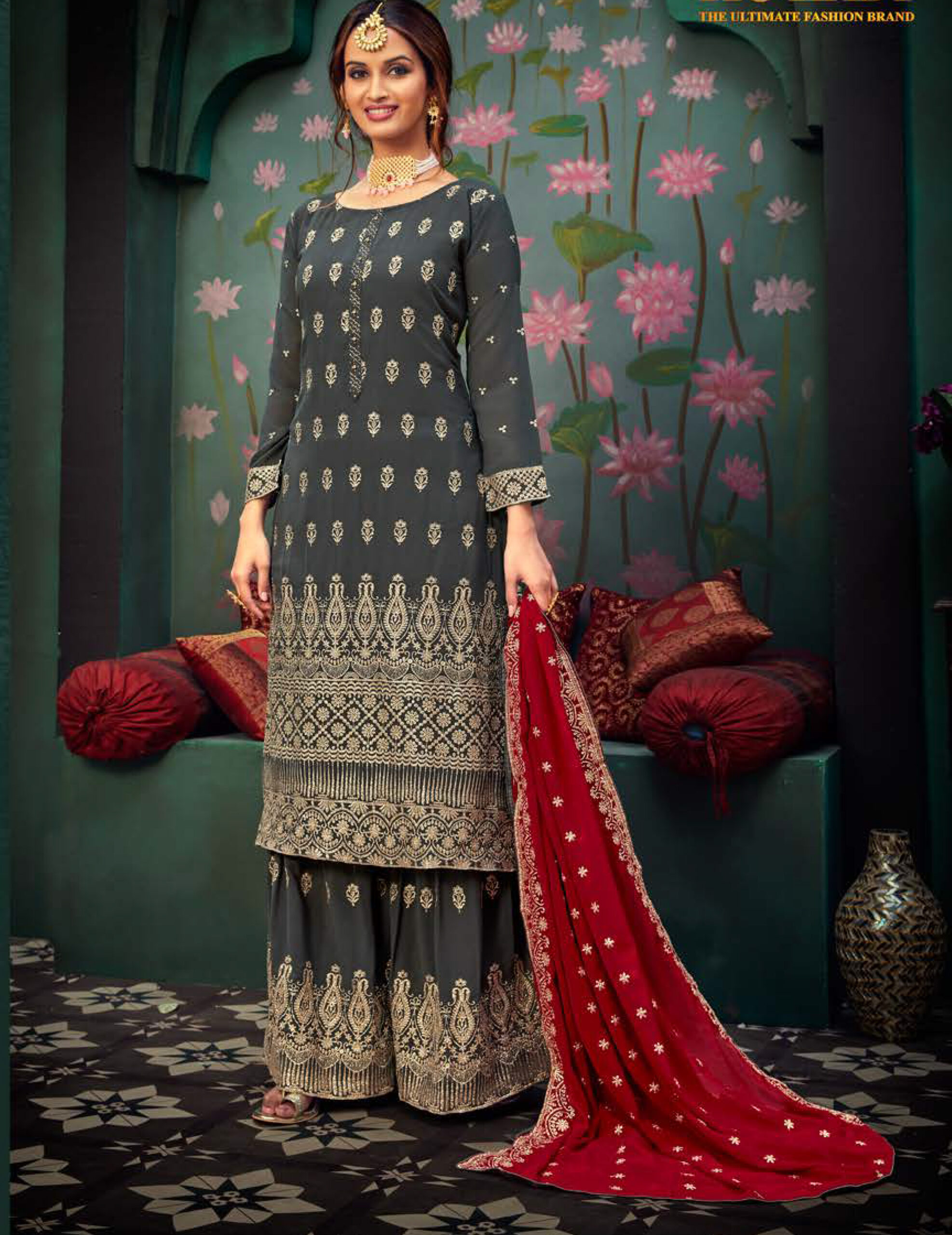 Grey Colour Punjabi Party Wear Sharara Suits with Red Dupatta