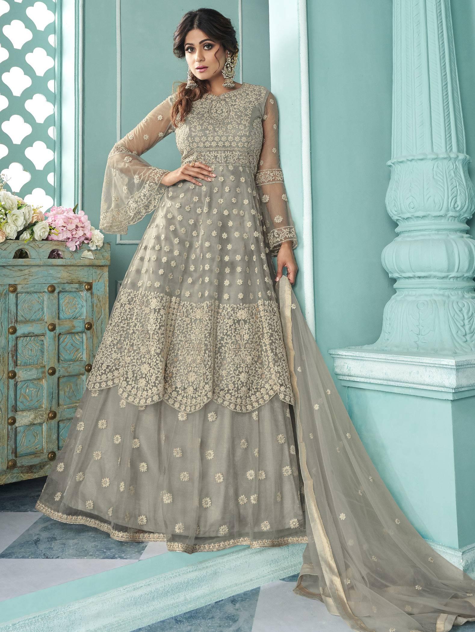 New Trend Outfits Grey Color Punjabi Lehenga Suit