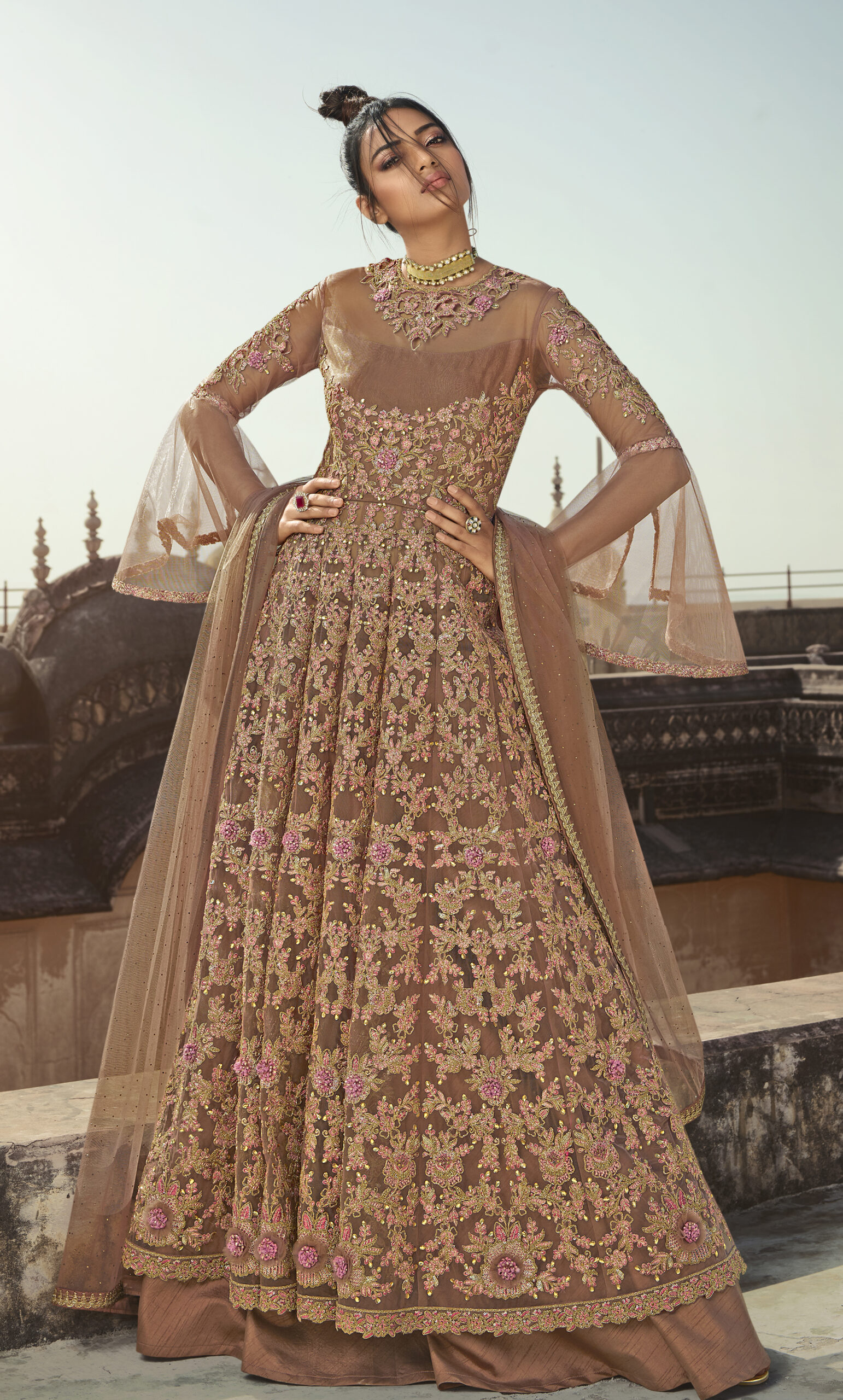 Peach Colour Gown Design 2021 with Price