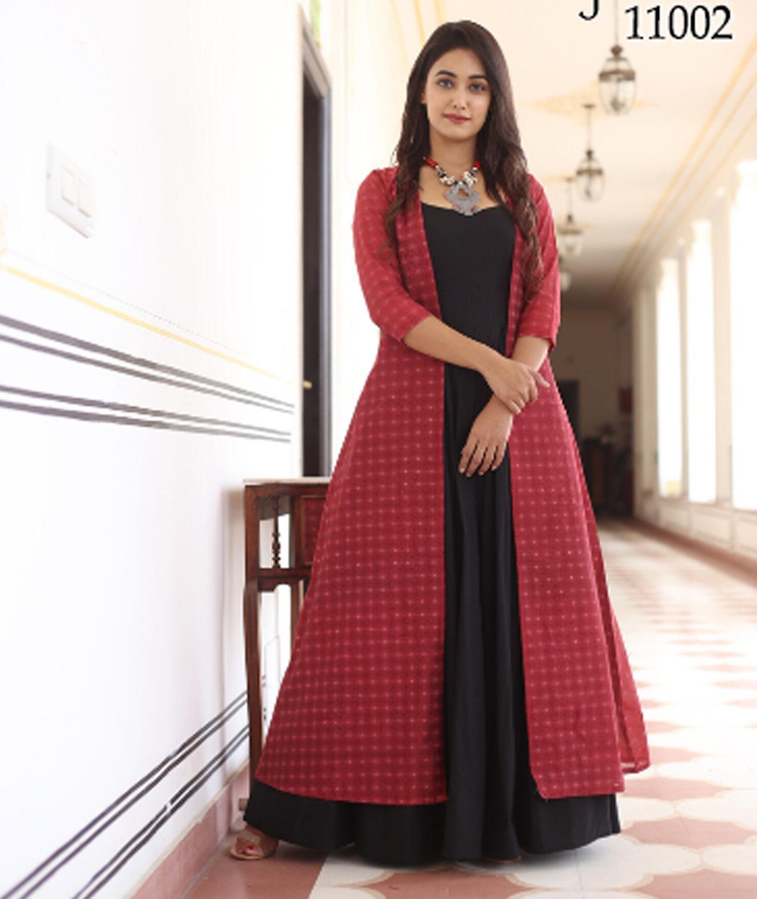 New Trend Designer Pink Jacket Black Anarkali Suit.
