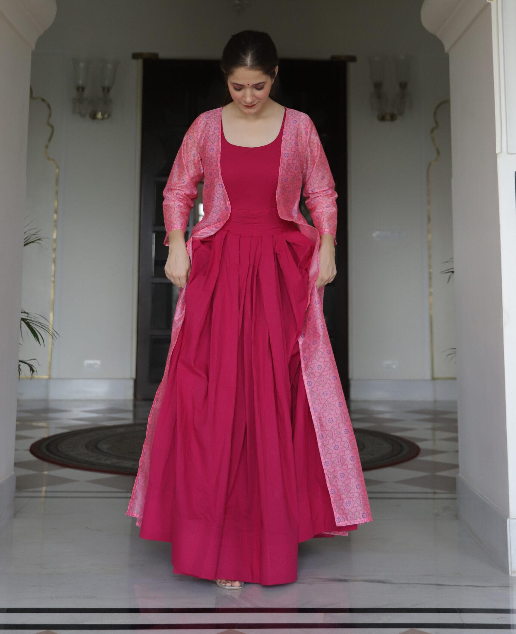 Best Trend Designer Pink Color Jacket Style Anarkali Suit