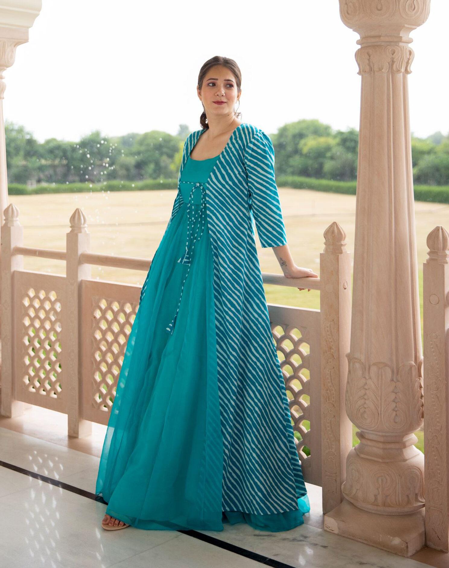 Best Trend Designer Sky-Blue Color Designer Anarkali Suit With Designer Jacket