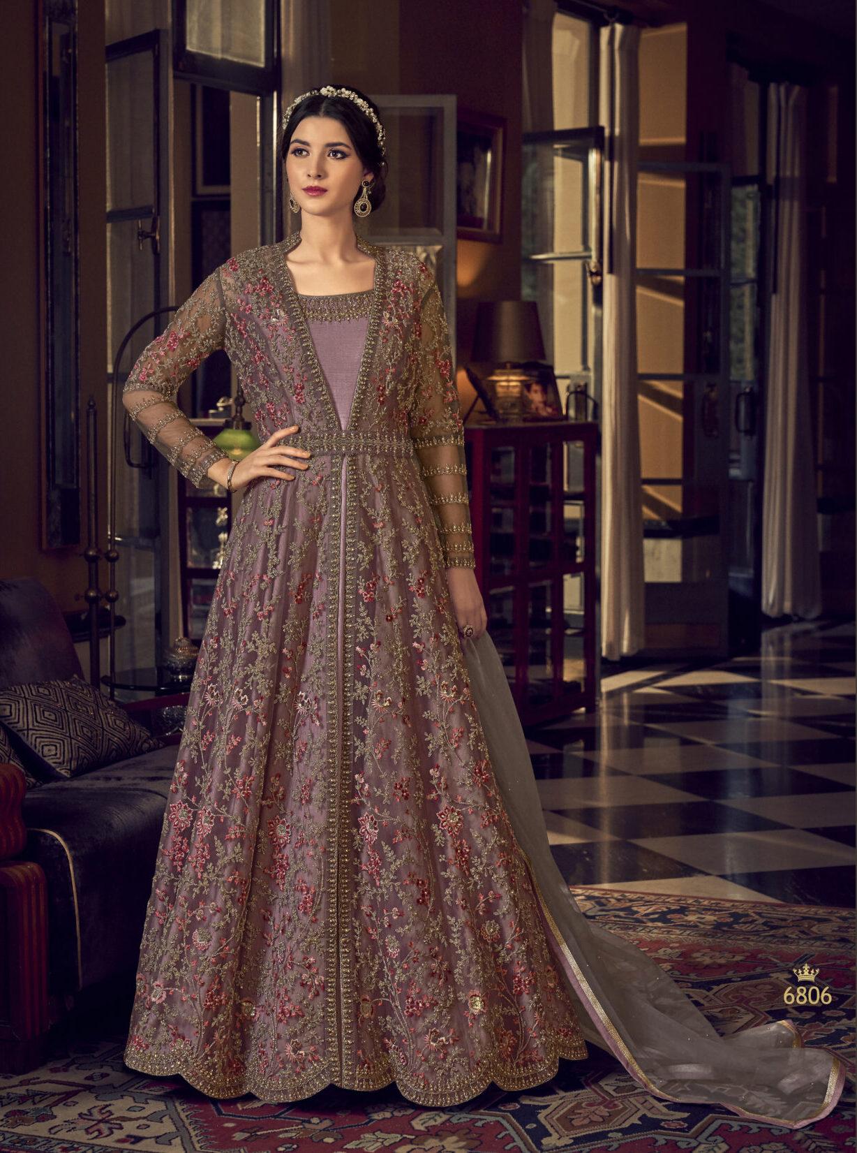 Long Jacket Style Anarkali Party Wear Suits Purple Colour