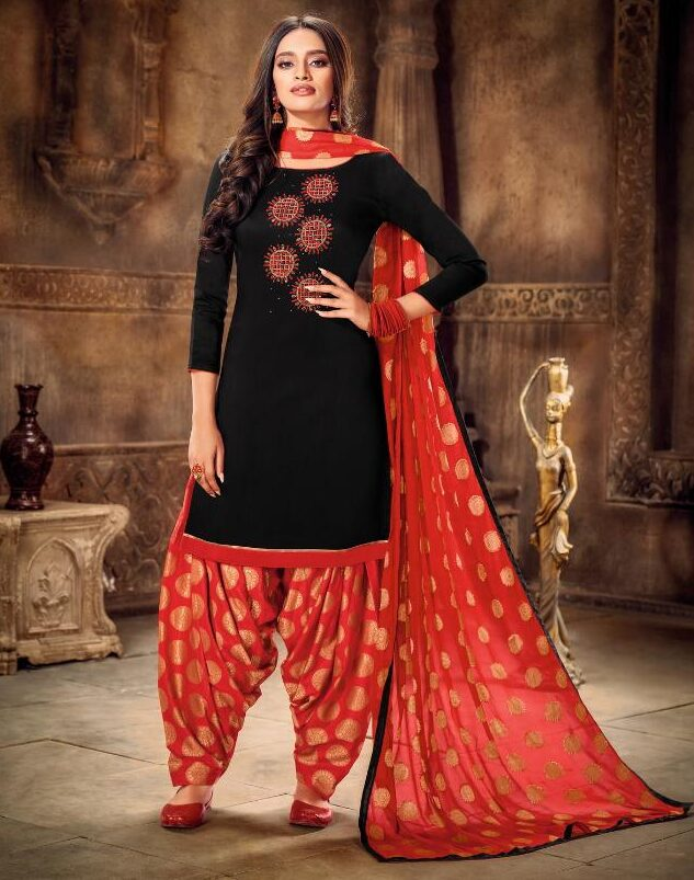 Punjabi Patiala Suit Black with Red Patiala Salwar Suit