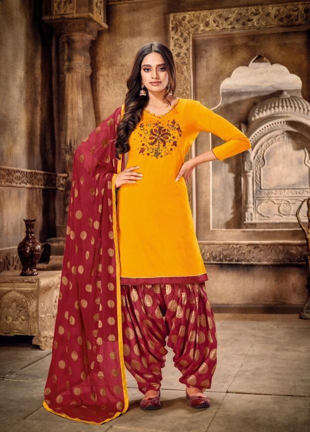 Punjabi Patiala Suit Design Yellow And Maroon Combination
