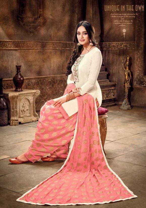 Punjabi Patiala Suit Image Off White with Baby Pink Salwar Patiala