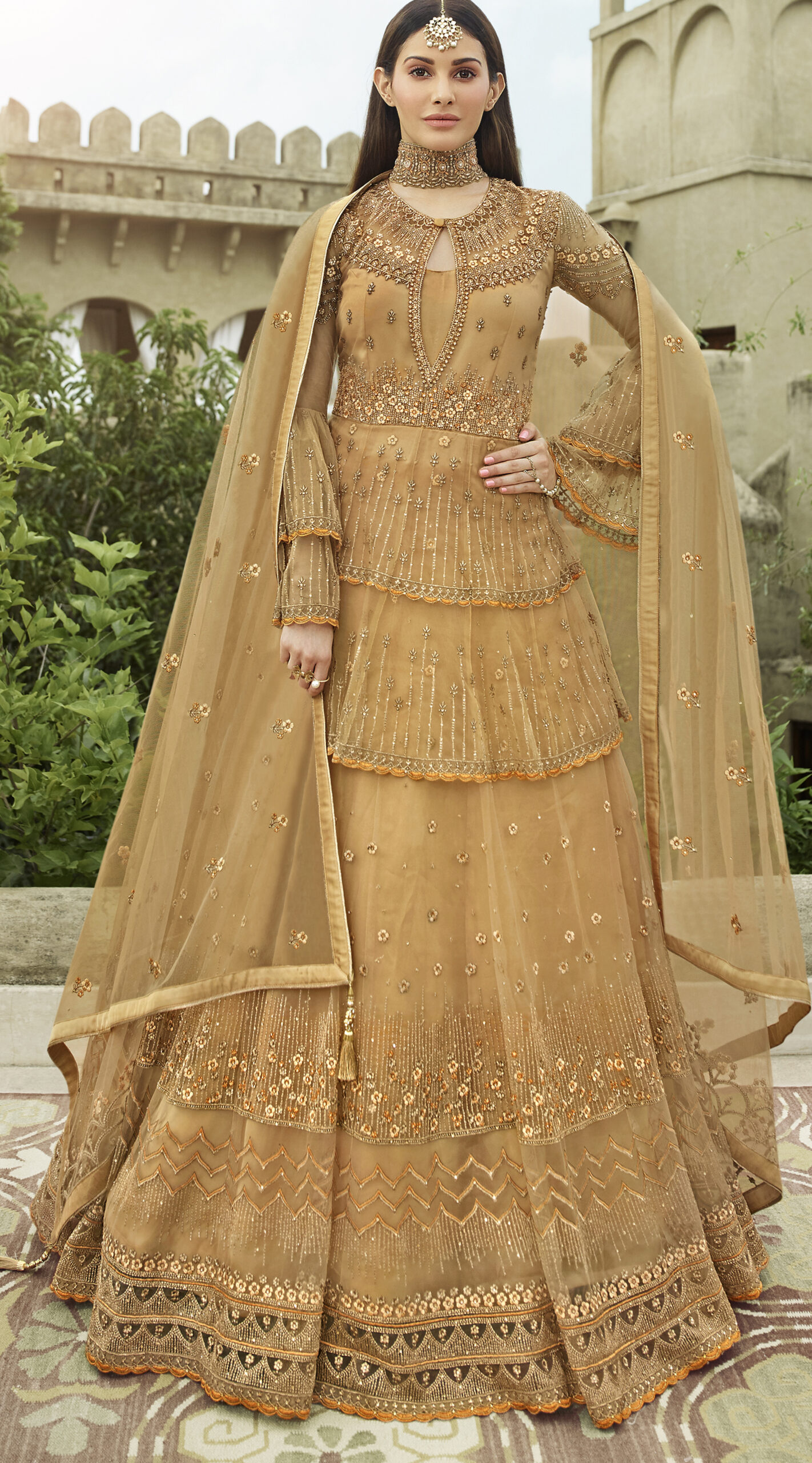 Almond Colour Latest Wedding Long Gown Party Wear