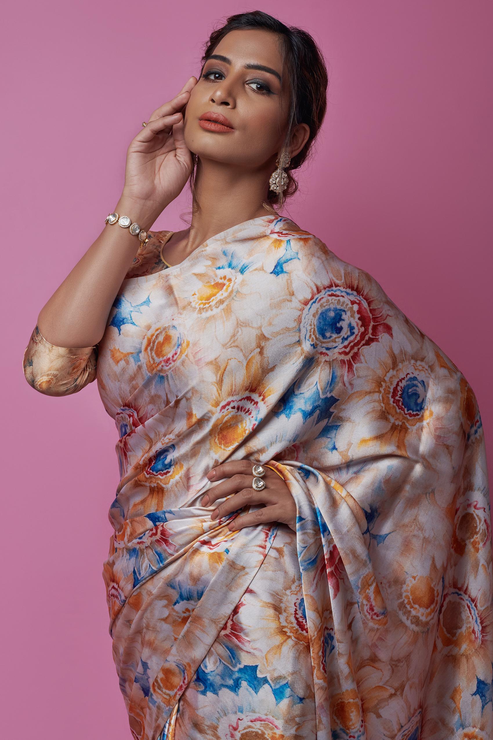 Butter Malai Satin Silk Saree