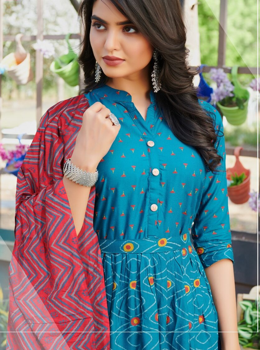 Digital Print Anarkali Kurti Cotton Blue Colour with Digital Print Dupatta