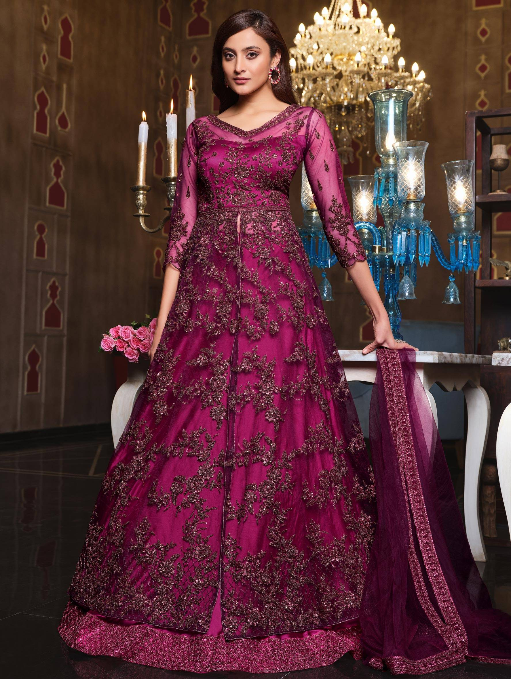 Double Layered Net Bridal Gown Design Magenta Colour