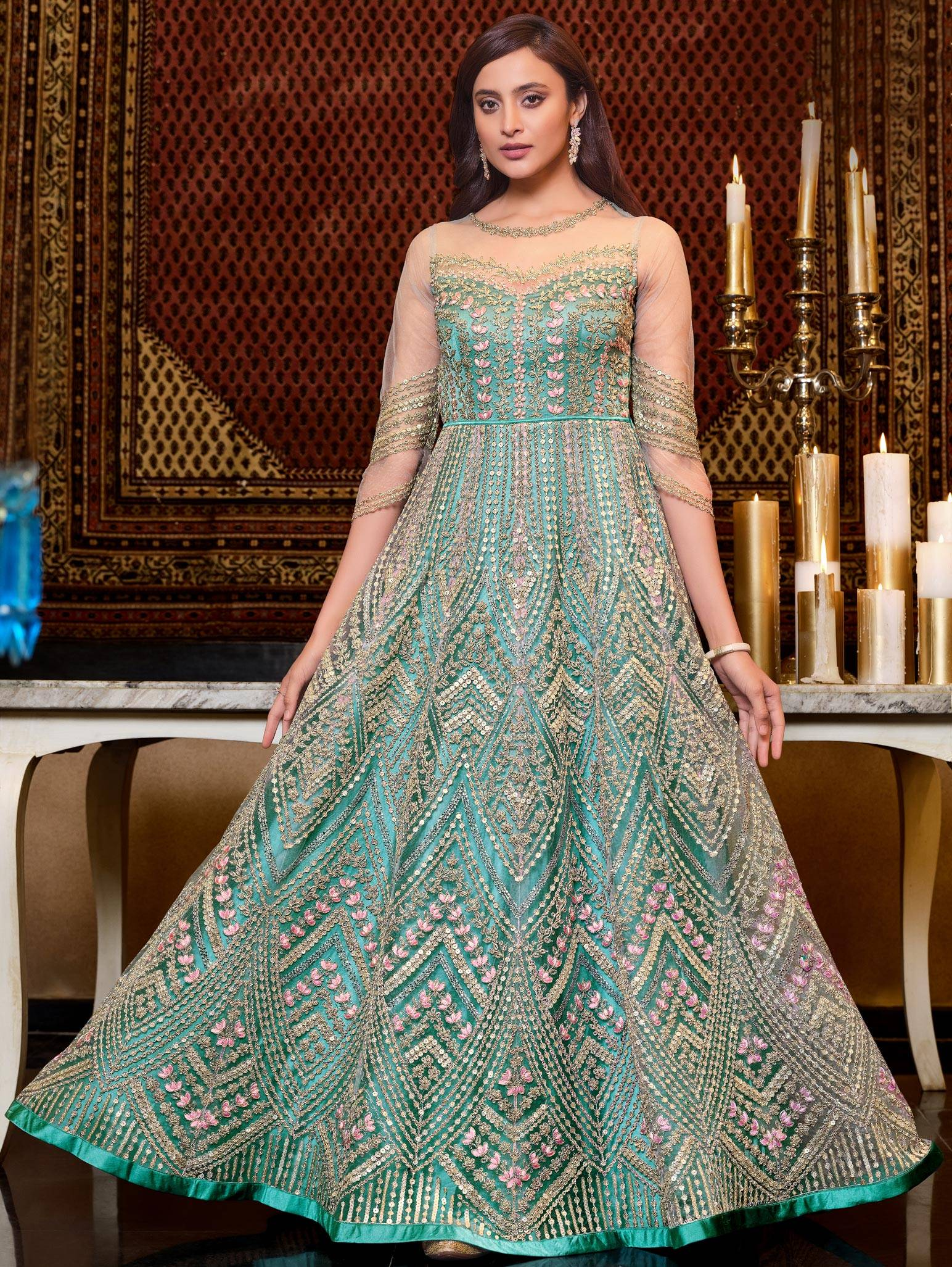 Latest Designer Baby Green Bridal Gown for Engagement
