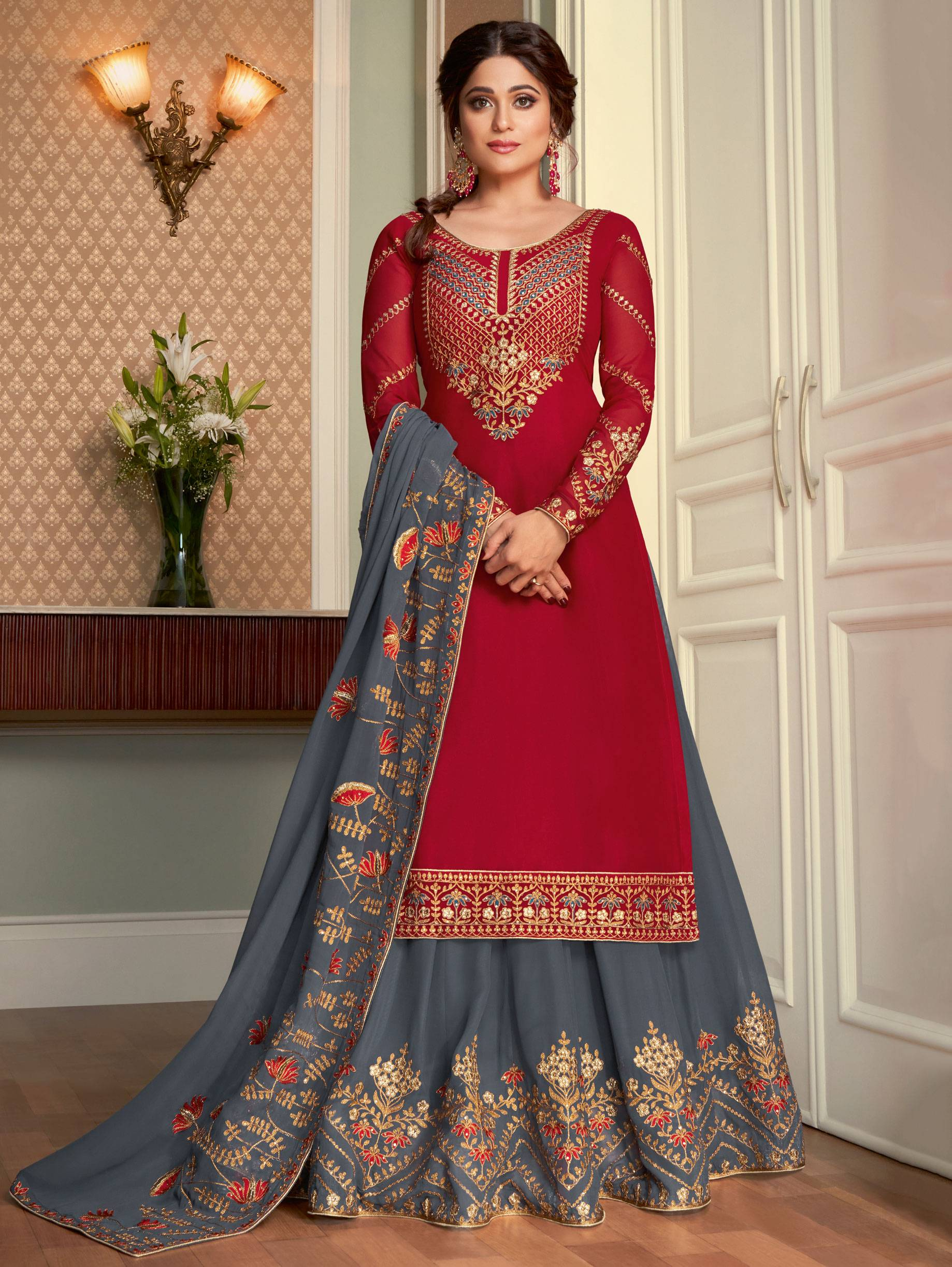 Party Wear Red and Grey Lehenga Kurti Design Images