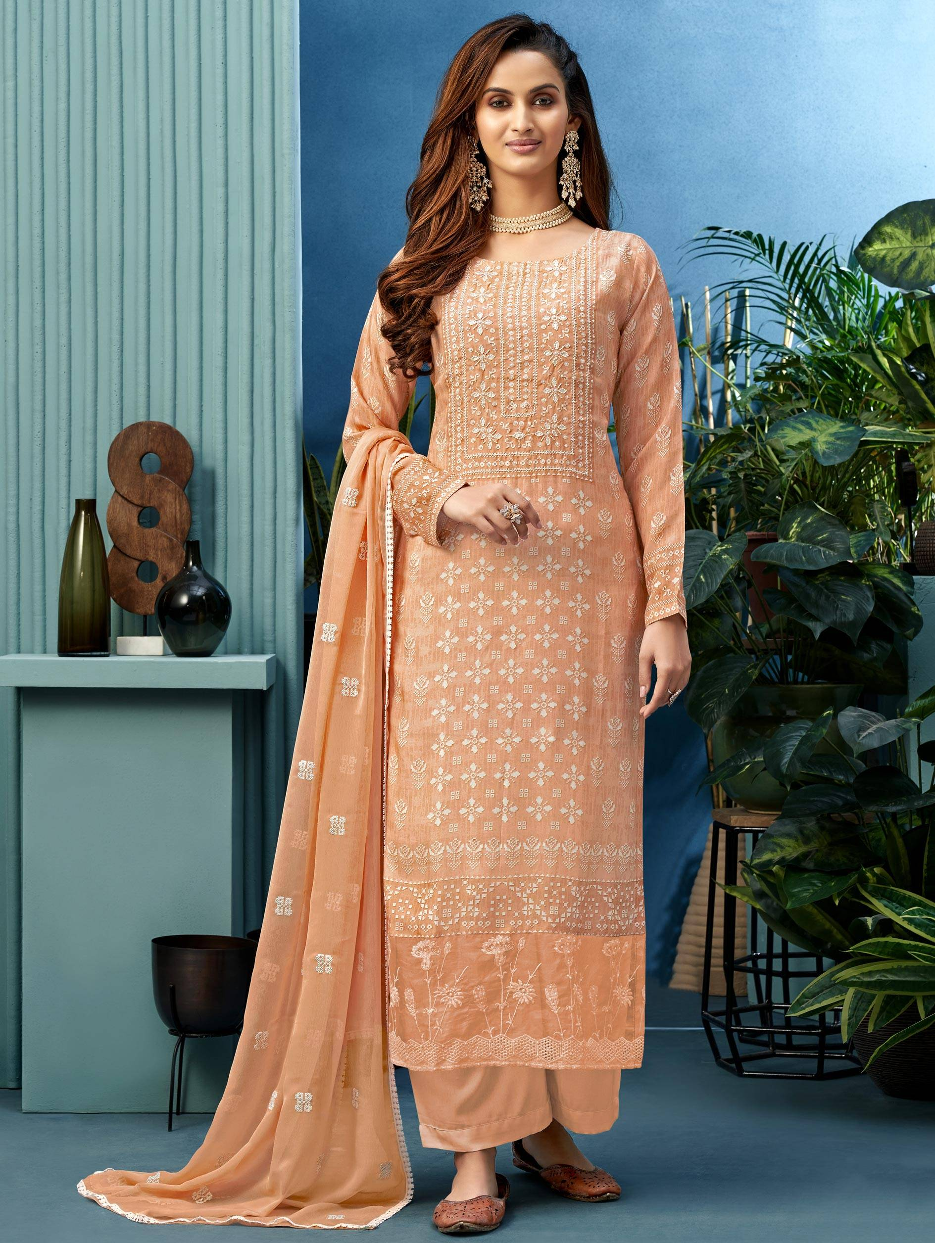 Peach Colour Salwar Suits with Straight Pants