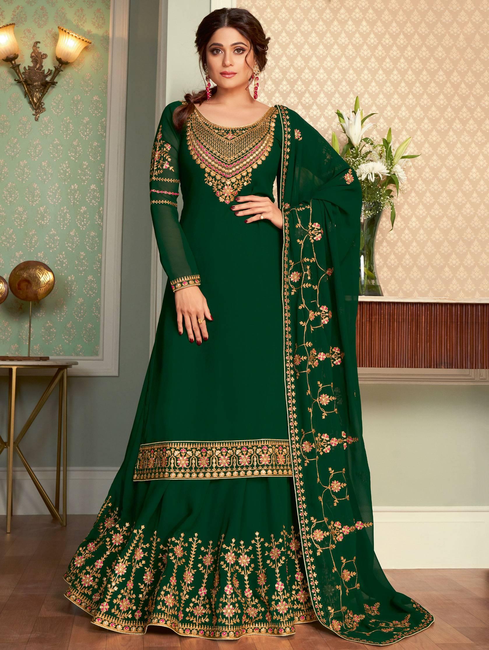 Shamita Shetty Dresses Long Kurti Lehenga with Price