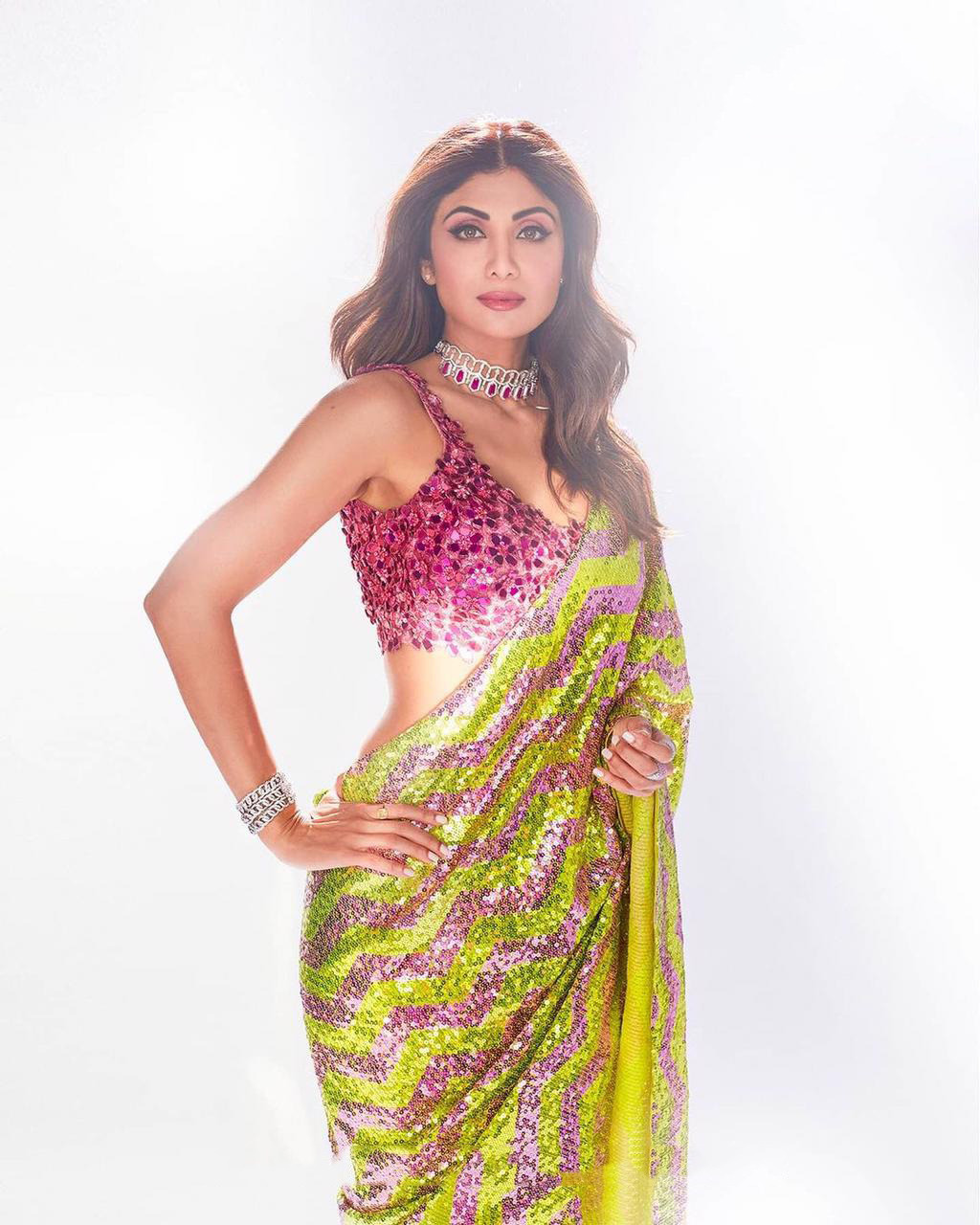 Shilpa Shetty Striped Saree in Pink and Green with Pink Blouse