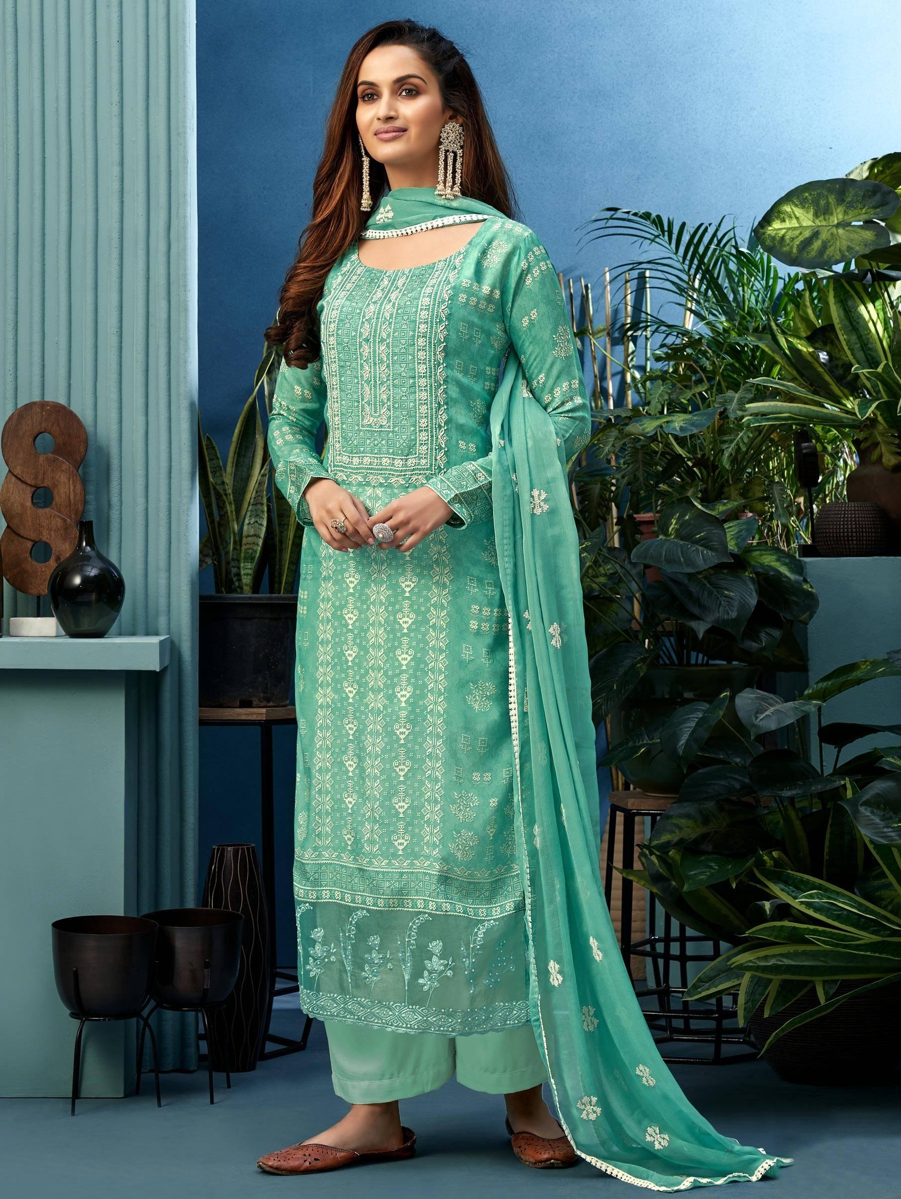 Sky Blue Punjabi Suit Party Wear with Heavy Dupatta