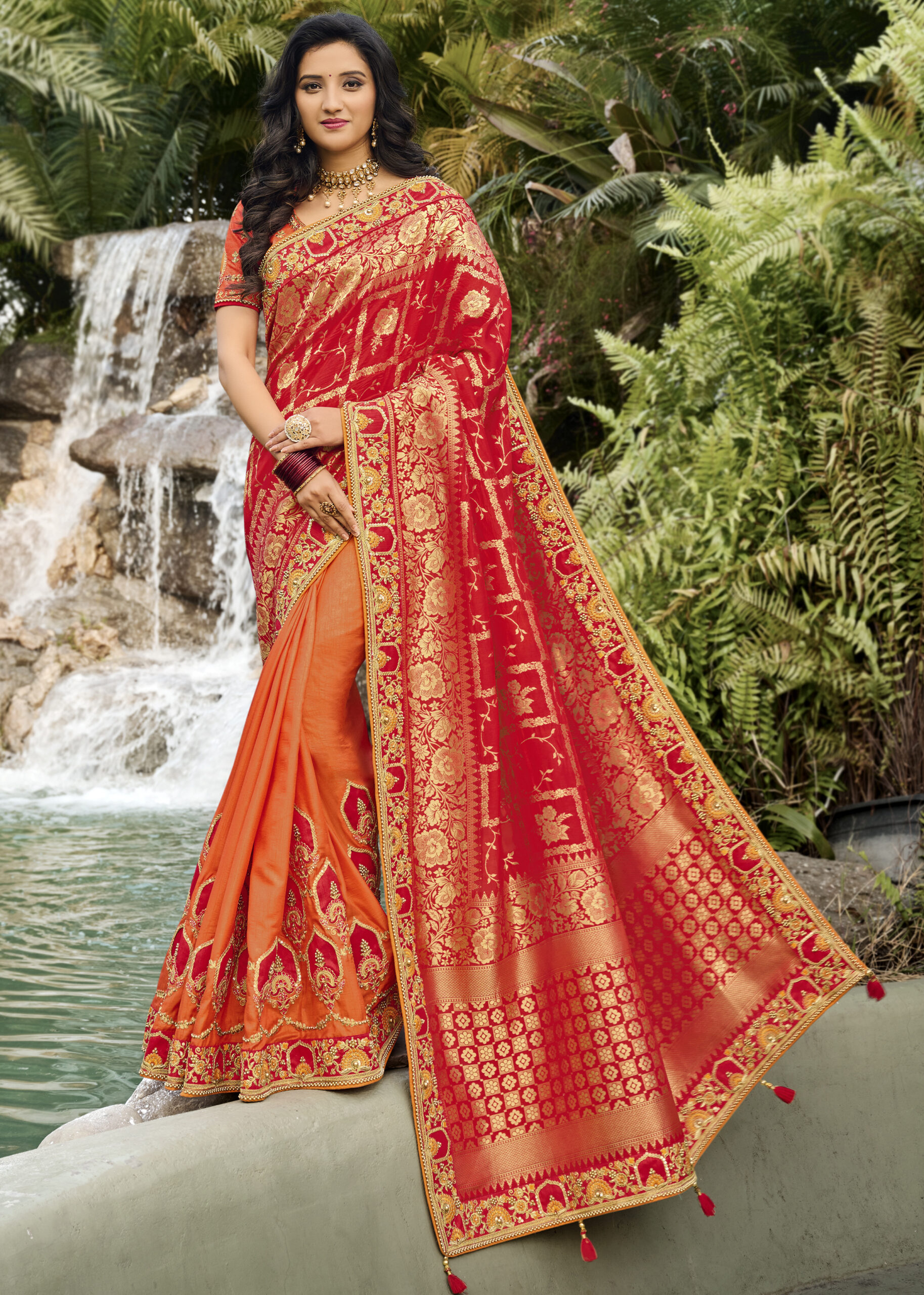 Chilli Red Pattu Saree with Golden Border