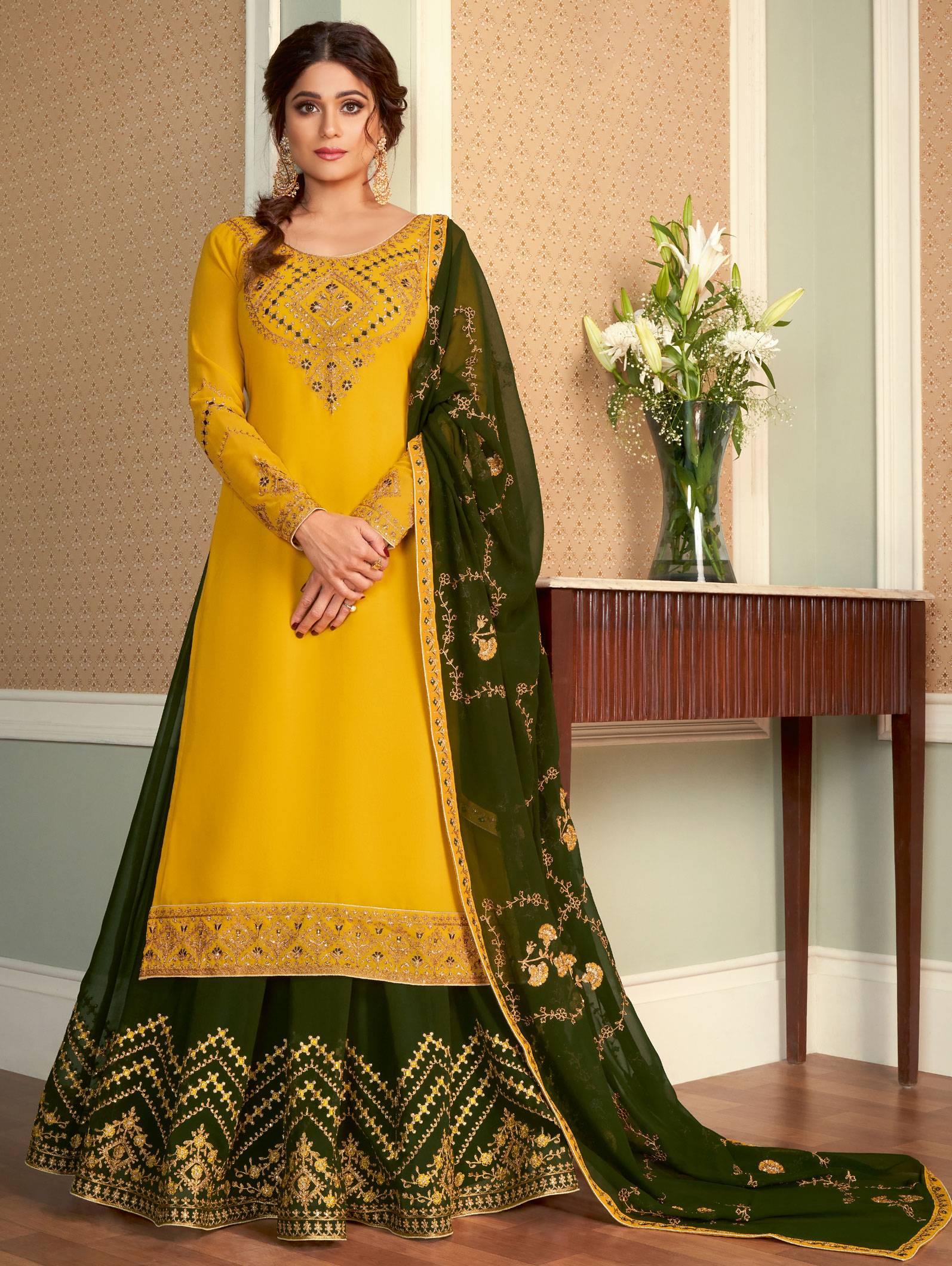 Party Wear Green with Yellow Long Kurti Lehenga with Price