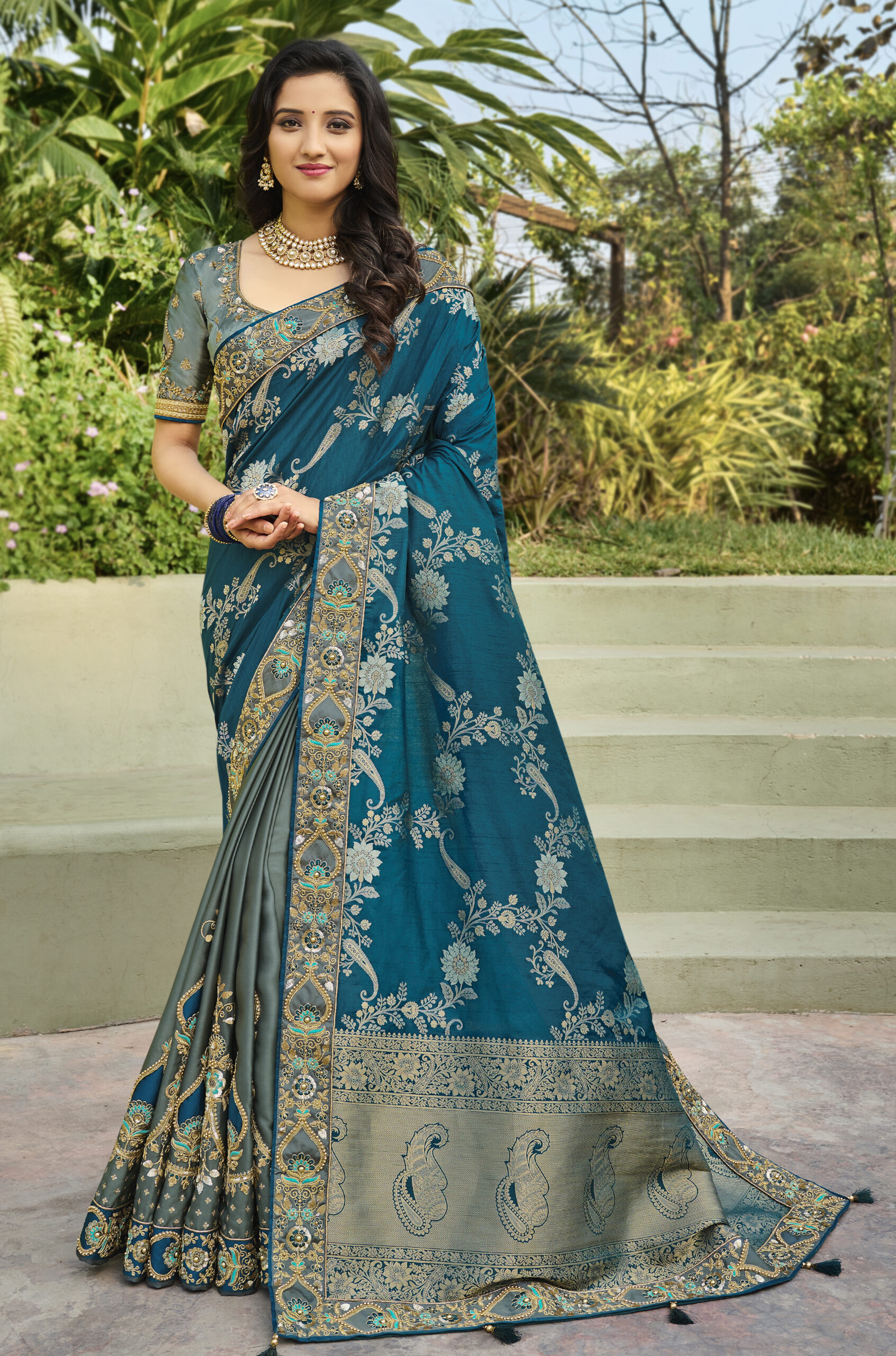 Sky Blue with Grey Combination Designer Saree for Wedding Party
