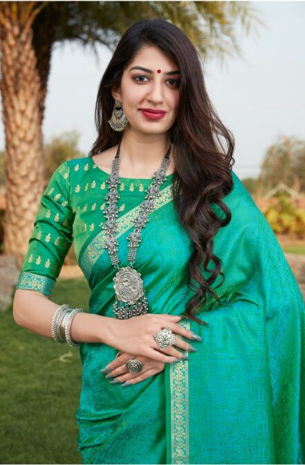 Baby Green Colour Latest Design of Sarees for Wedding