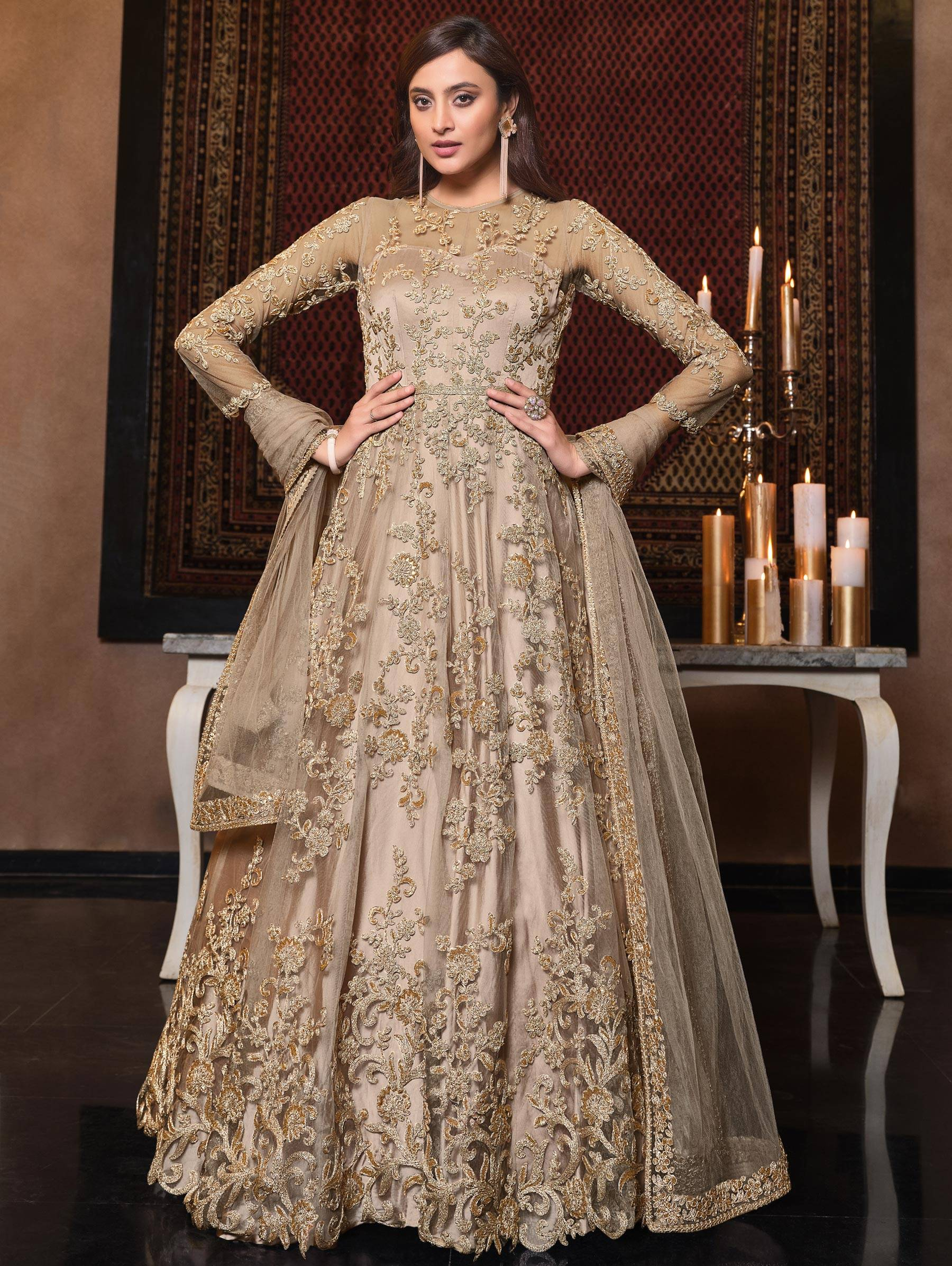 Latest Golden Gown for Wedding Reception Indian