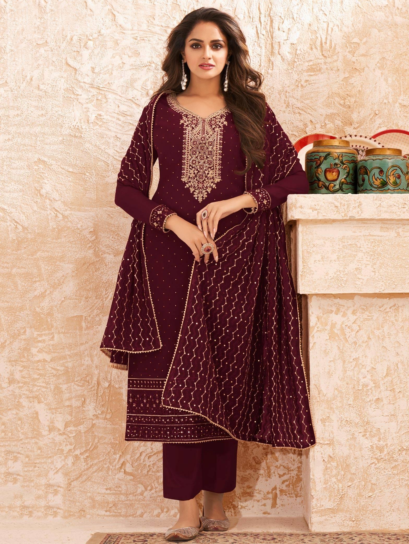 Maroon Heavy Wedding Salwar Suits Online Shopping
