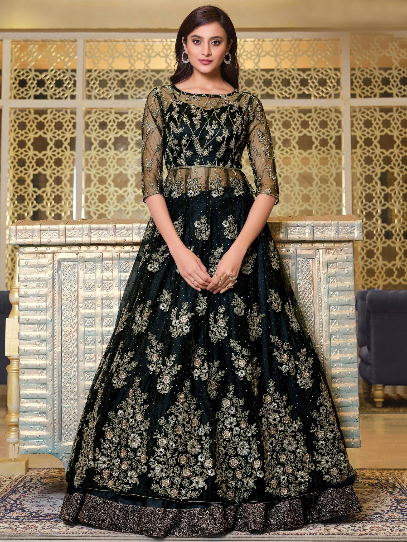 Net Bridal Gown with Price in Black