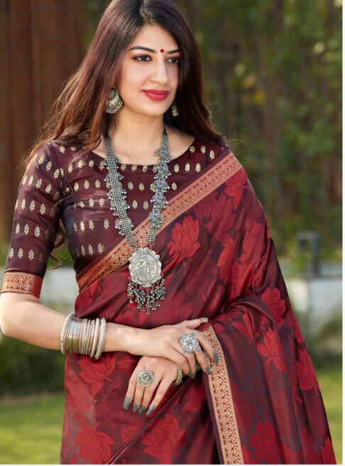 New Design Party Wear Coffee Colour Saree with Blouse