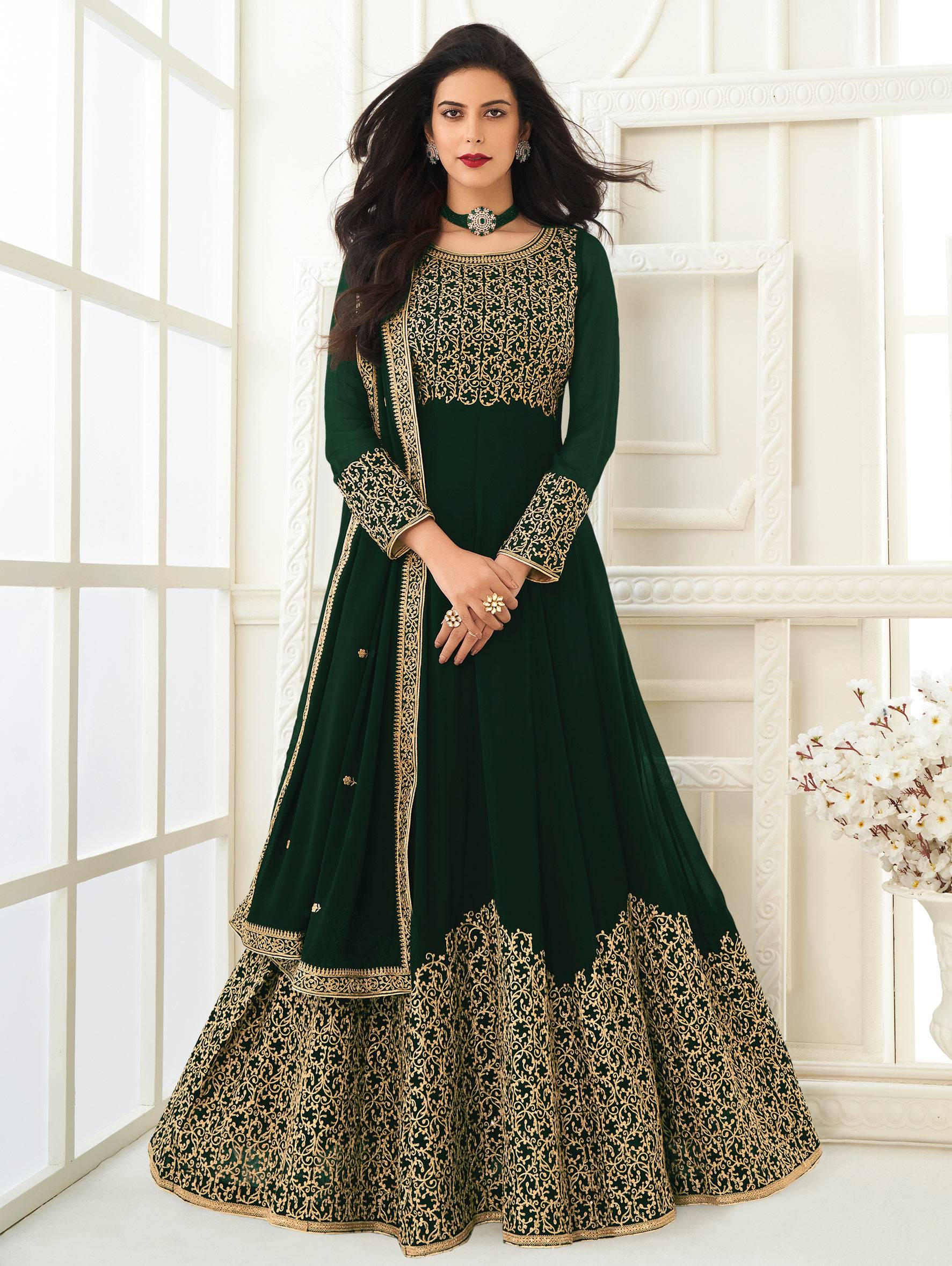 New Essence of Party Wear Green Gown