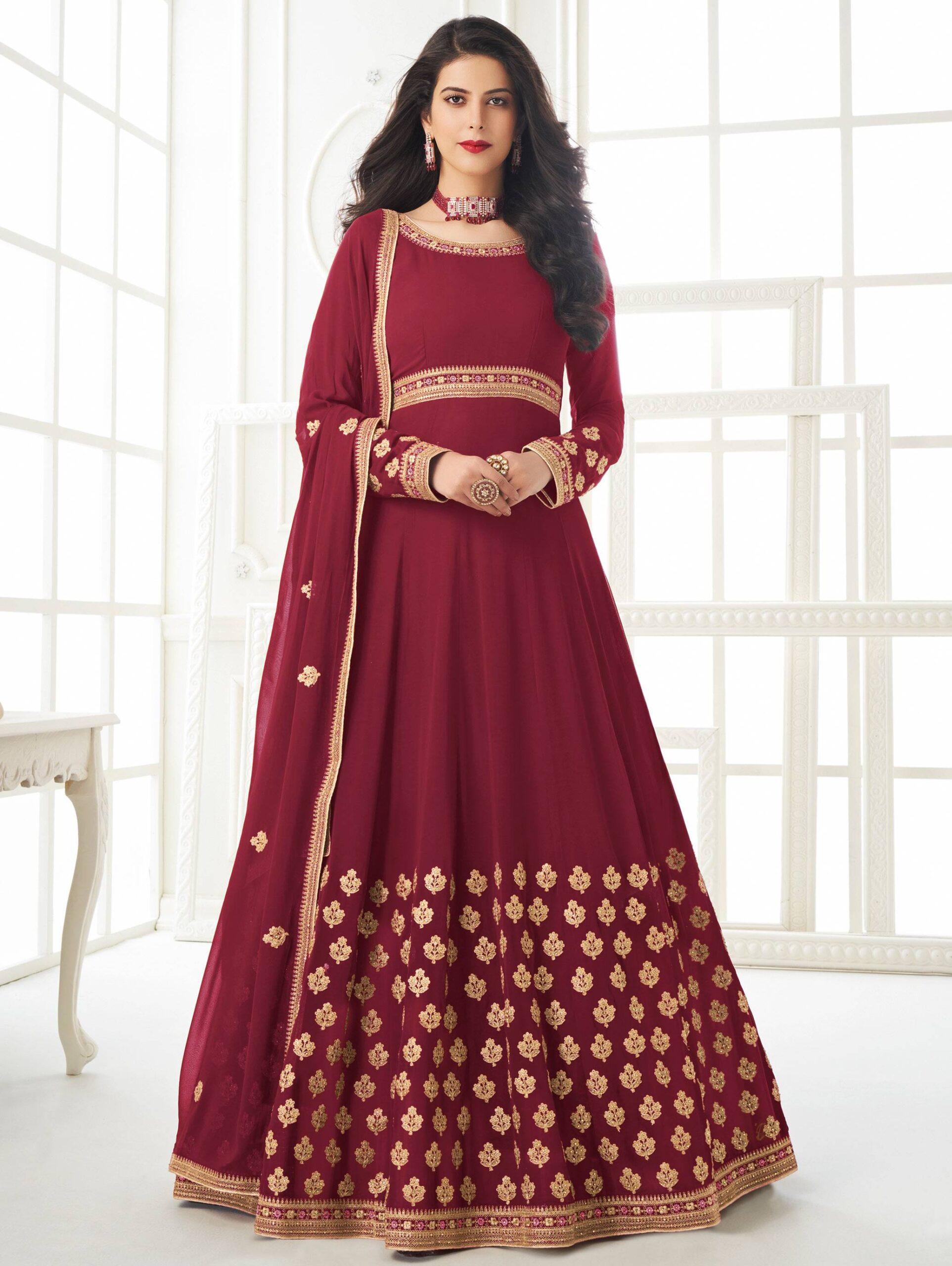 Party Wear Gown Design New Plum Colour