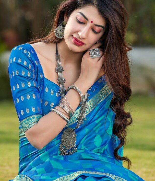 Sky Blue Colour Digital Print Sarees Price
