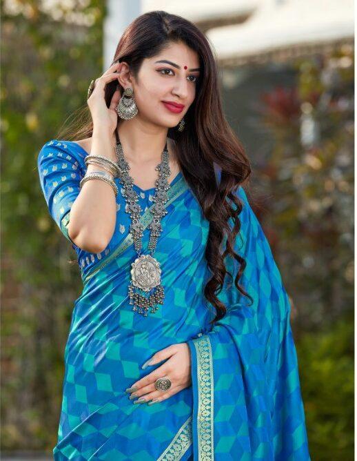Sky Blue New Saree Design Model