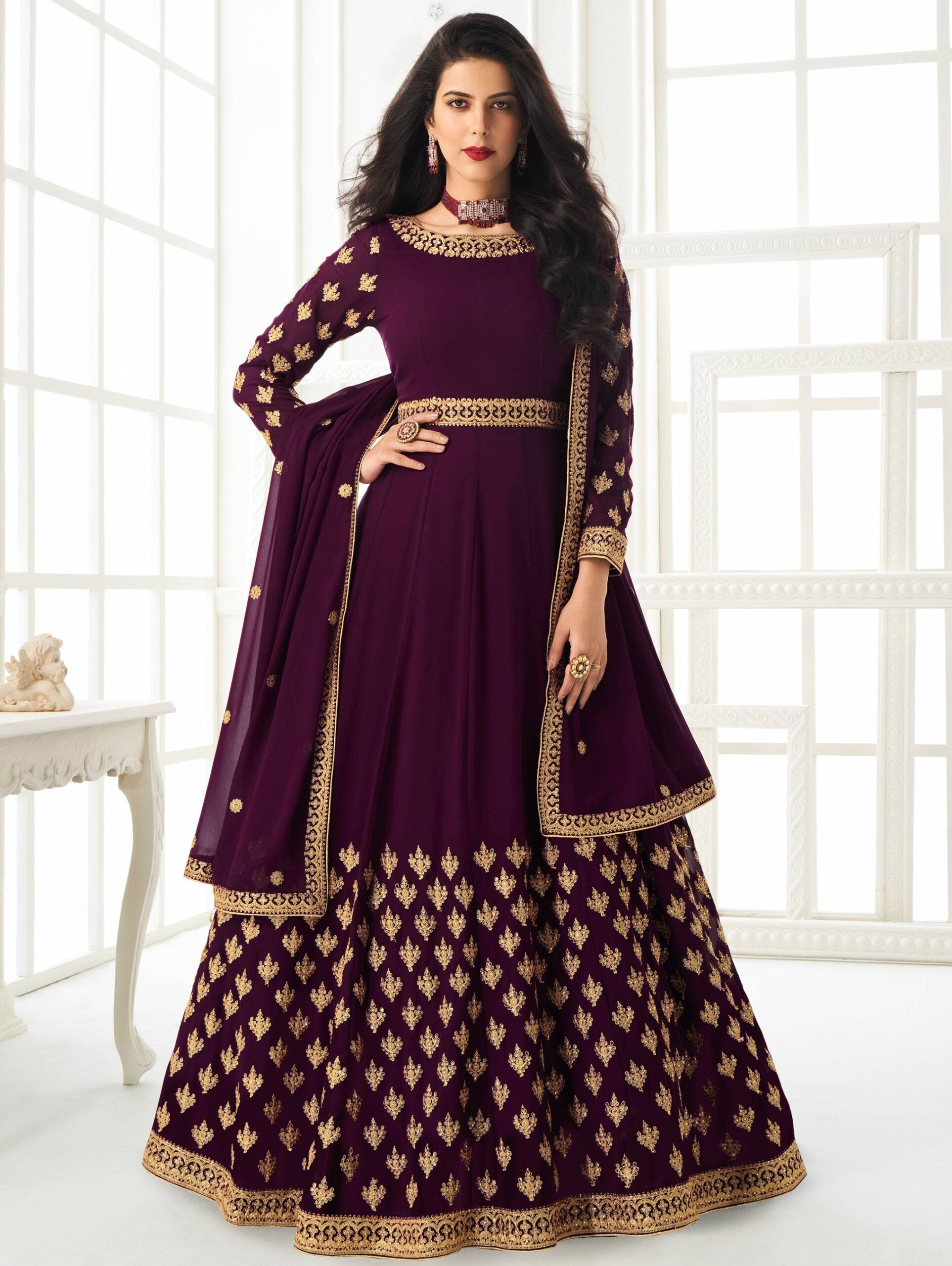 Wine Colour Gown for Wedding