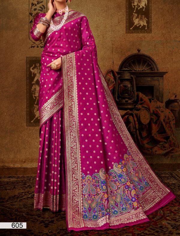 Wedding Saree Silk in Magenta Collour