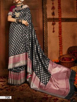 Polka Dot Style Designer Silk Saree Black