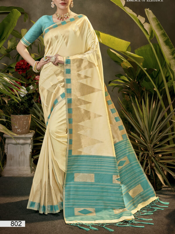 Silk Sarees Online Off White with Contrast Green Pallu