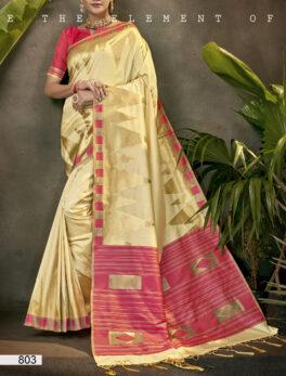 Silk Saree Online White with Contrast Rich Pallu