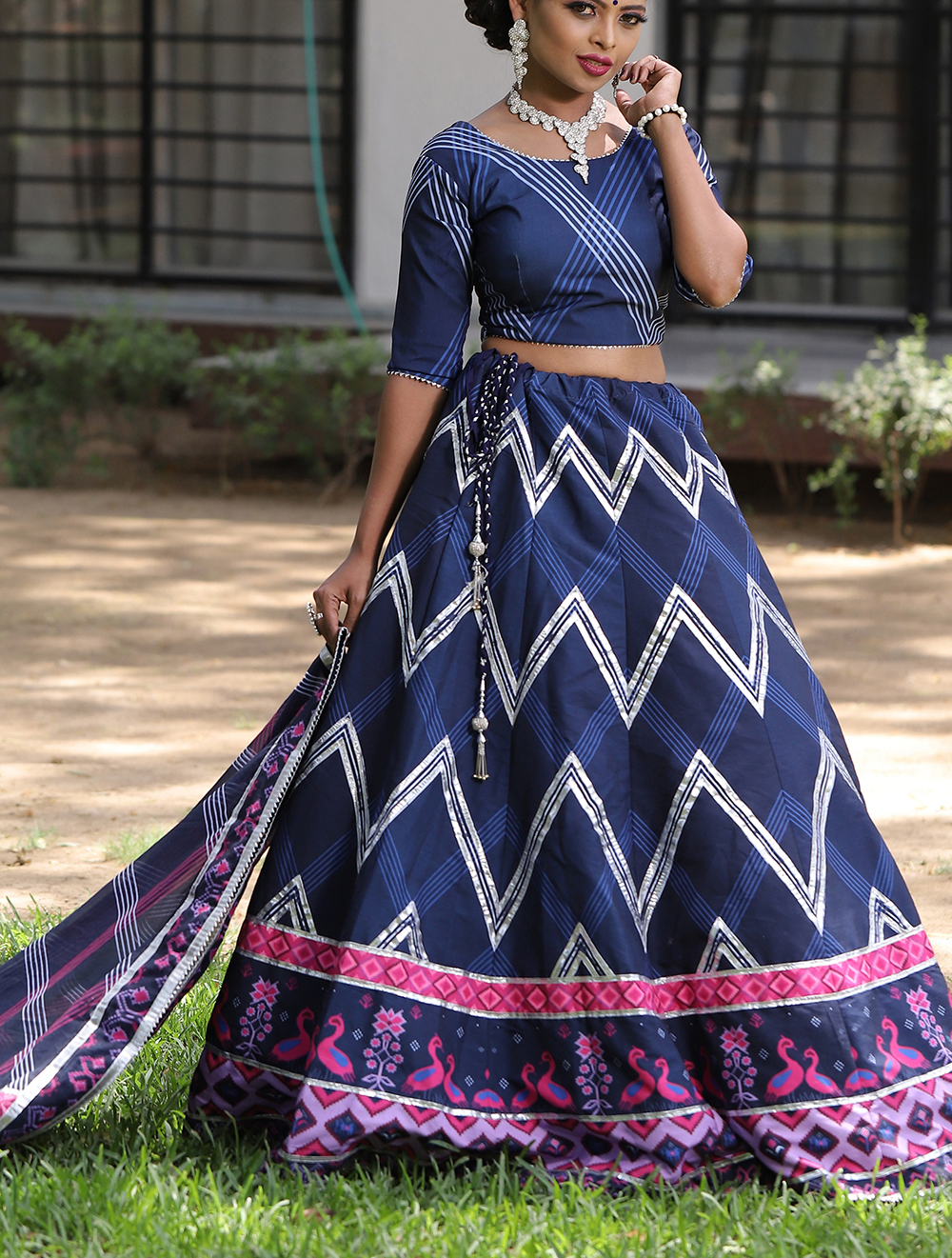 Floral Print Simple Lehenga for Party in Royal Blue Colour