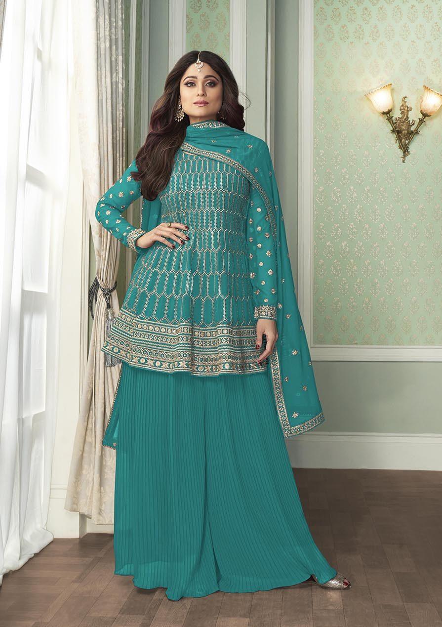 Shamita Shetty Style Turquoise Colour New Design of Salwar Suits