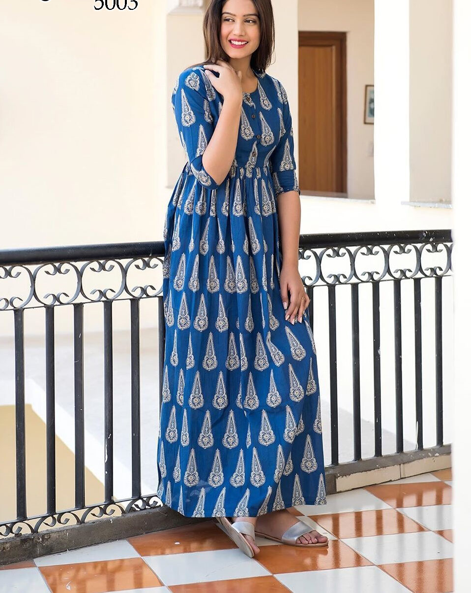Muslin Kurti Design in Royal Blue Floral Print