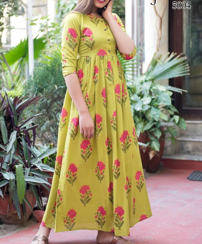 Designer Anarkali Style Long Cotton Kurta Women