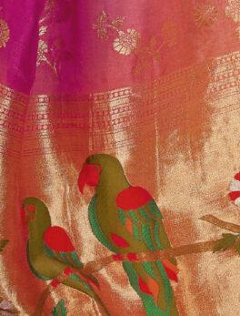 Birds Print Silk Saree New Design