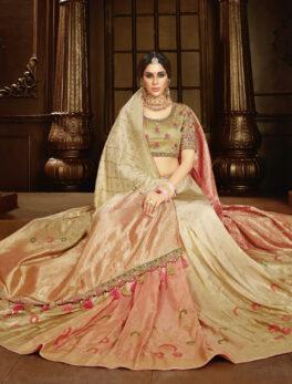 Peach Colour New Designer Dulhan Wedding Saree