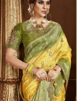 Yellow Silk Saree Design for Wedding Party