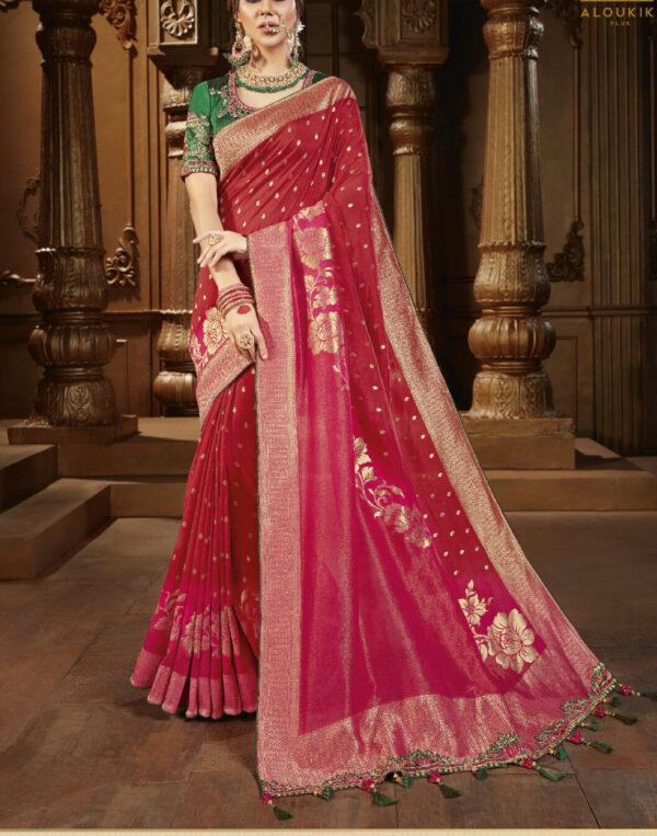 Best New Trend Red Wedding Saree Silk
