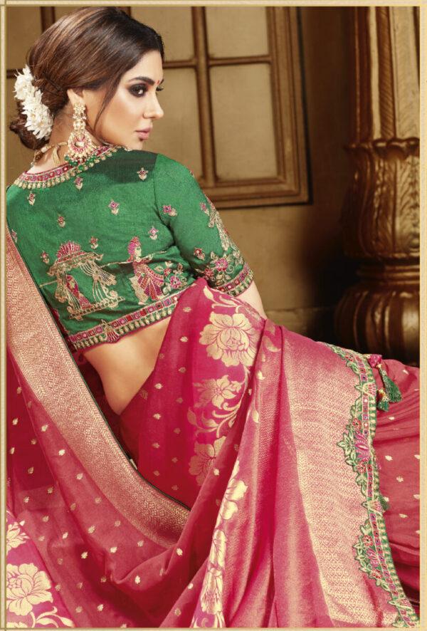 Latest Designer Wedding Red Silk Saree