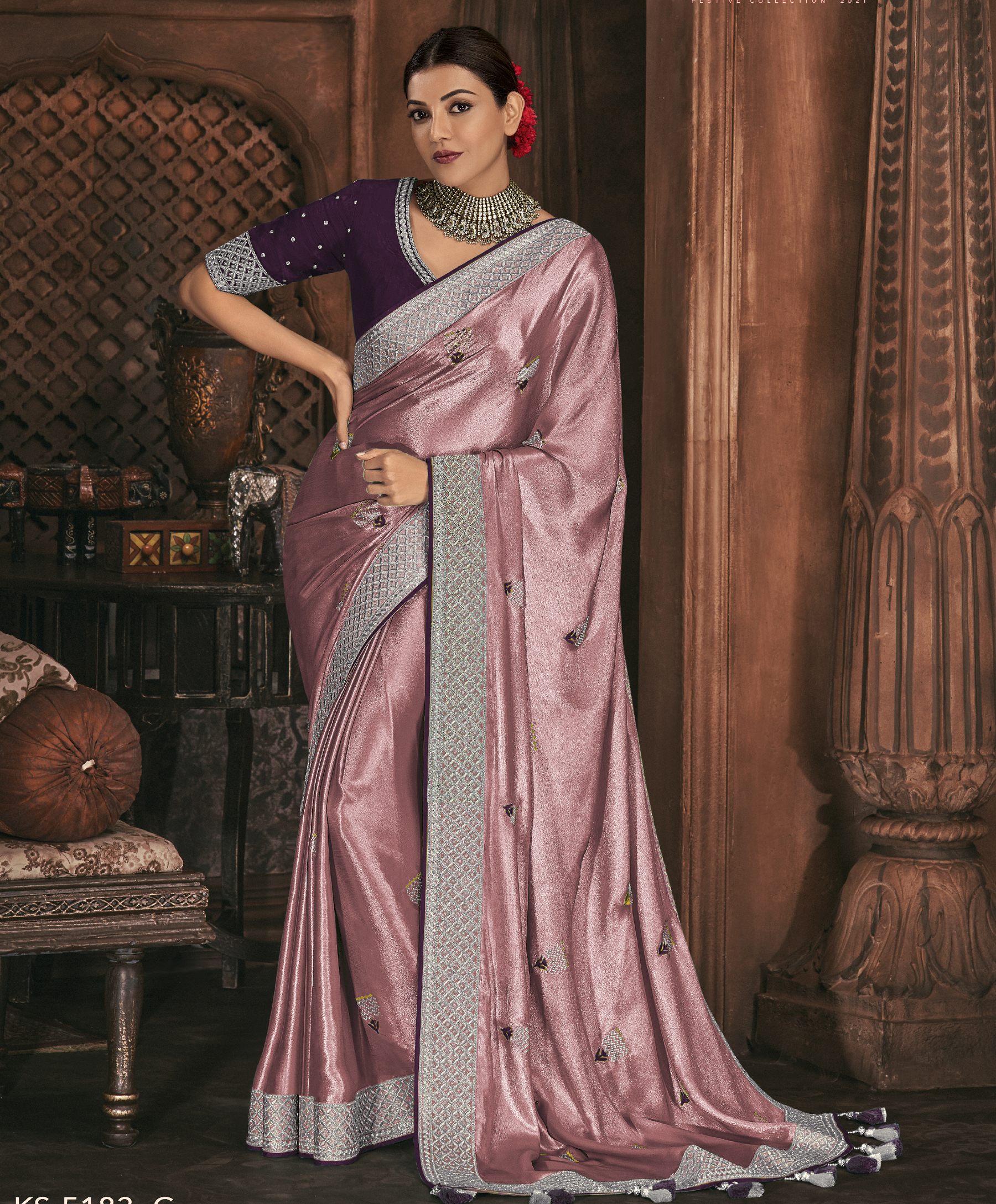 Baby Pink Contrast Blouse Plain Saree in Silk