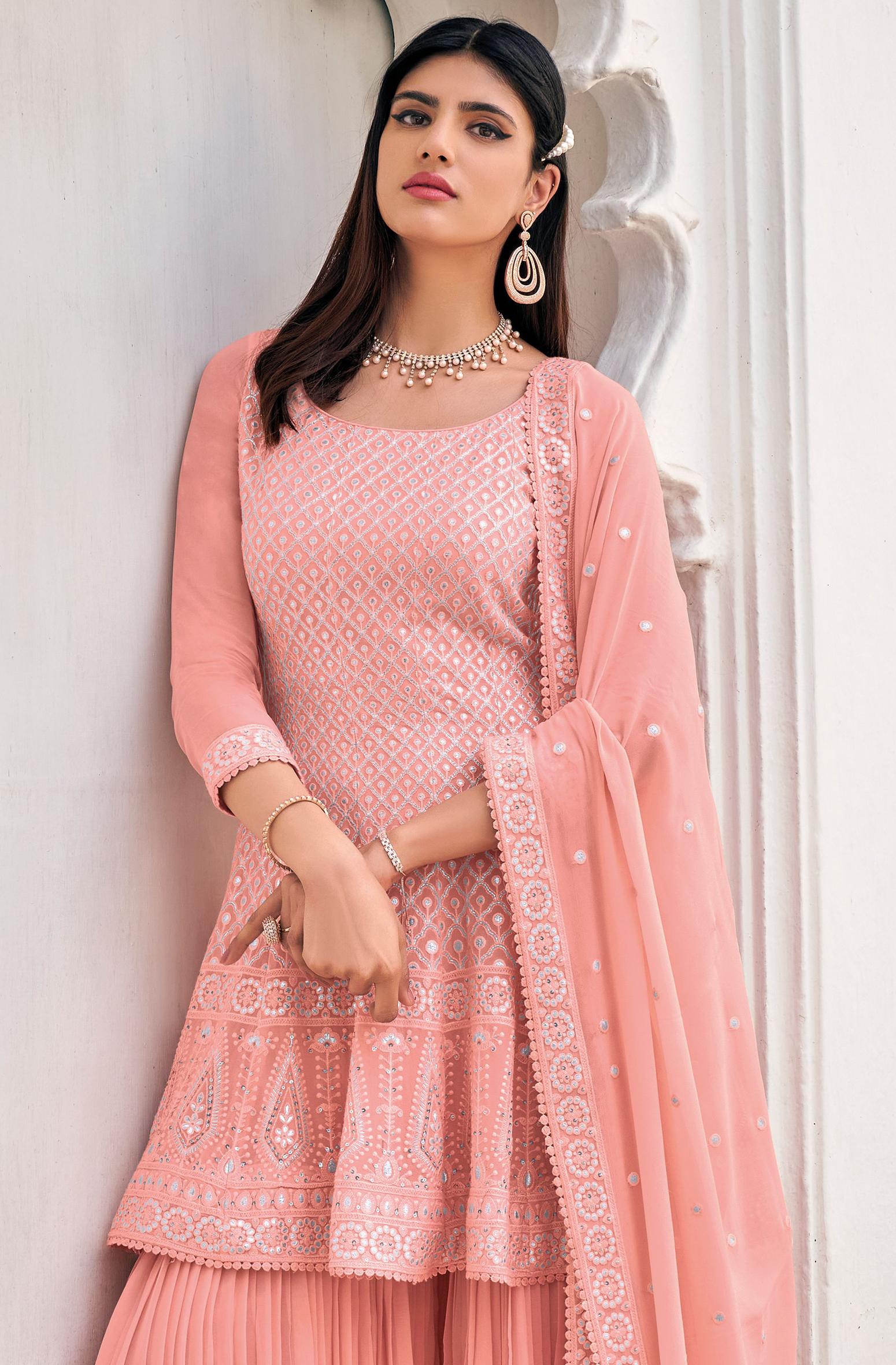 Baby Pink Punjabi Sharara Suits Online