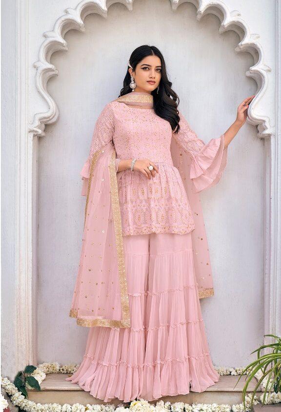Baby Pink Punjabi Sharara Suits Party Wear